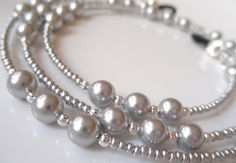 SILVER SEDUCTION Light Gray Swarovski Pearls Eyeglass Chain Leash - Reading Glasses Chain - Eyeglass Jewelry - Pearl Lanyard Necklace