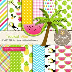 Tropical Summer Digital Paper and Clipart Toucan Flamingo