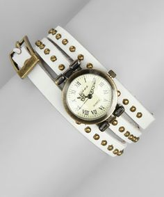 White Studded Leather Wrap Watch