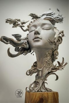Chinese artist Yuanxing Liang is redefining the traditional bust sculpture with his breathtaking fantasy art. The prototyping teacher crafts intricate portraits featuring faces of women that are fused with delicate flourishes and elements of landscapes. Portrait Sculpture, Art Sculpture, Clay Sculptures, Surrealism Sculpture, Angel Sculpture, Kreative Portraits, Creation Art, Arte Obscura, Colossal Art