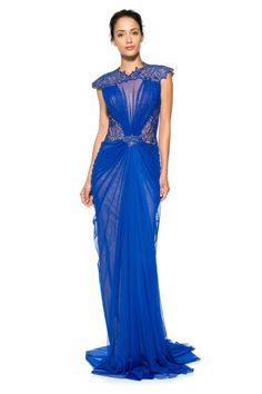 05defca651 Draped Tulle and Embroidered Lace Illusion Neckline Gown. Royal Blue GownTadashi  Shoji ...