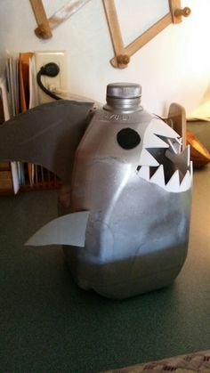 Shark milk jug for 5th grade school project to collect shells for a walk on the beach!