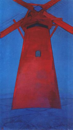 From Turner Contemporary, Piet Mondrian, Molen (Mill); The Red Mill Oil on canvas, 150 × 86 cm Piet Mondrian, Den Haag Strand, Abstract Expressionism, Abstract Art, Dutch Painters, Oil Painting Reproductions, Dutch Artists, Georges Braque, Le Moulin