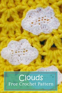 clouds, free and easy crochet applique pattern - by Craftytuts.com #crochet