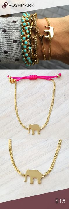 Stella & Dot Elephant Wishing Bracelet Make your own luck. This Elephant bracelet is the perfect good luck charm. Features sliding knot closure for adjustable length, shiny gold plating with hot pink cord and an elephant charm. Like new. Price firm. Listed on Posh only. 🚫 NO TRADE OR HOLD 🚫 Stella & Dot Jewelry Bracelets