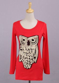 Red Long Sleeves Korean Fashionable Blouse with Owl Print and Decorative Pockets 4