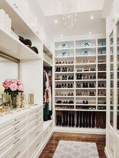Pinterest closets are also huge draws on the website. This popular walk-in closet is perfect for the shoe hoarder.