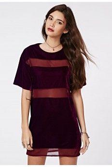 Dora Velvet Mesh Panel T-Shirt Dress Oxblood - different!
