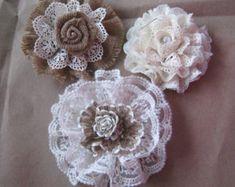 Shabby Burlap Lace Flower Wedding Decoration by wreathsplusbylyn