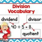 Division Anchor Chart (vocabulary)  Students need to understand and use the correct mathematical terms.  This little anchor chart can help them lea...