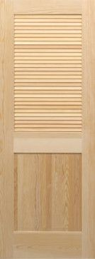 Pine Half Louver with Panel at Bottom Slats Interior Door Styles, Wood Doors, Pine, New Homes, Curtains, House, Ideas, Design, Home Decor