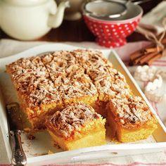 Tarta polaca de manzana con canela Café Chocolate, Pan Dulce, Pastry Cake, Flan, Banana Bread, French Toast, Deserts, Food And Drink, Vegetarian