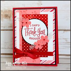 A bright and cheery thank you card for The Paper Players Challenge using the So Sentimental stamp set, Stitched So Sweetly Dies and Thoughtful Blooms stamp set from Stampin' Up! Valentine Love Cards, Valentines Diy, Have A Happy Day, Thanks Card, Autumn Theme, Homemade Cards, Stampin Up Cards, Thank You Cards, Birthday Cards