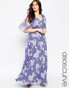 ASOS Curve WEDDING - Vestito lungo con delicata stampa di rose Abiti Per  Festa 77076cdd8db