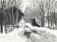 A charcoal sketch by David Hockney of Woldgate, the Roman road running west from Bridlington.
