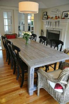 Farmhouse table plans & ideas find and save about dining room tables . See more ideas about Farmhouse kitchen plans, farmhouse table and DIY dining table White Farmhouse Table, Farmhouse Table Plans, White Farmhouse Kitchens, Farmhouse Kitchen Tables, Farmhouse Style, Ana White Farm Table, Rustic Farmhouse, Homemade Kitchen Tables, White Wash Table