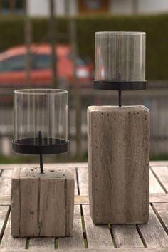 Kerzenständer - Kerzenhalter aus Beton mit Windschutzglas groß - ein Designerstück von Die_Basteltante bei DaWanda