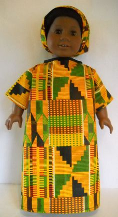 """Fits 18"""" American Girl doll  West African kaftan dress clothes EE  (COSTUME ONLY"""