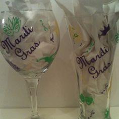 Mardi Gras wine glass and beer pilsner