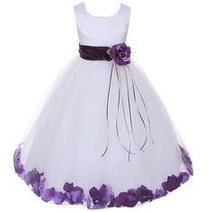 Kids Dream White Satin Purple Petal Flower Girl Dress Girl 11/12