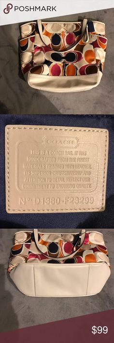 Genuine Coach Cream with orange, pink, brown and black design, gently used Coach Bags