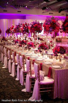 A Gorgeous Pink, Red & Purple Wedding Reception Decor By Prashe Wedding Decor Wedding Flower Arrangements, Wedding Table Centerpieces, Wedding Reception Decorations, Wedding Themes, Wedding Colors, Wedding Flowers, Wedding Day, Red Wedding Receptions, Trendy Wedding
