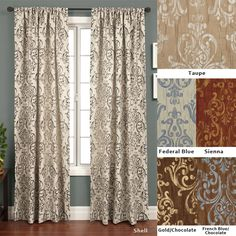 <li>Add a touch of elegance to your home decor with lustrous jacquard curtains<li>Window treatments feature luxurious medallion crinkle jacquard construction<li>Roman rod pocket curtain panel measures 50 inches wide x 120 inches long