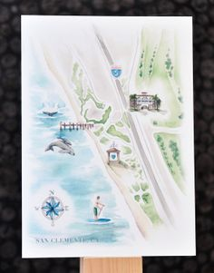 watercolor map of wedding and reception venue | a keepsake for the bride and groom and a really cool item to include with invites