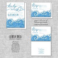 ocean and beach Wedding Invitation set, sample, Katy design