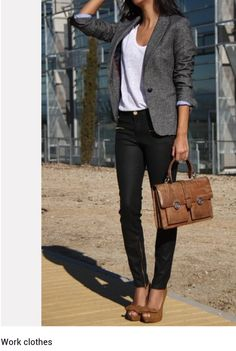 The grey blazer makes this outfit modest because the flowy white tshirt would look too cheap for work. A modest look is a great look for work.