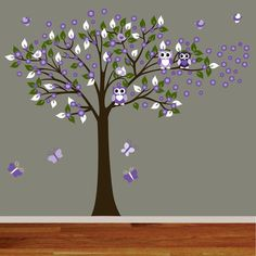 Flower Tree Vinyl Wall Decal Tree with Birds by wallartdesign, $125.00