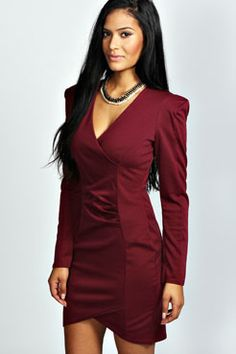 Miranda Wrap Over Long Sleeve Bodycon Dress at boohoo.com for $45.00