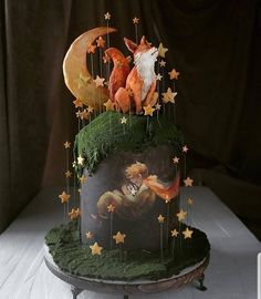Gorgeous, moody, and whimsical - The little prince cake Gorgeous Cakes, Pretty Cakes, Cute Cakes, Amazing Cakes, Unique Cakes, Creative Cakes, Cake Drawing, Moon Drawing, Fox Cake