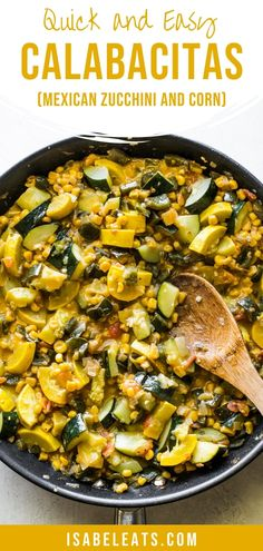 This Calabacitas recipe is a beloved Mexican vegetable dish made from sauteed zucchini and squash corn onions peppers tomatoes and cheese. It's healthy comforting and super satisfying even for the biggest of meat lovers! Mexican Vegetable Dishes, Mexican Vegetables, Mexican Side Dishes, Sauteed Vegetables, Vegetable Sides, Vegetable Side Dishes, Veggies, Corn Recipes, Vegetable Recipes