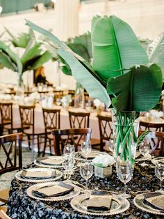 Hollywood Glam Wedding with an Unexpected Tropical Twist photography by Ashley Slater Photography Filipiniana Wedding Theme, Wedding Centerpieces, Wedding Decorations, Decor Wedding, Table Decorations, Filipino Wedding, Deco Table, Island Weddings, Hawaii Wedding
