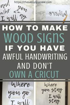Easy DIY farmhouse wood signs without a stencil! DIY rustic wood signs like you see at Hobby Lobby, for a fraction of the cost! Wine Bottle Crafts, Mason Jar Crafts, Mason Jar Diy, Diy Home Decor Projects, Diy Wood Projects, Diy Projects To Try, Decor Ideas, Craft Ideas, Diy Ideas