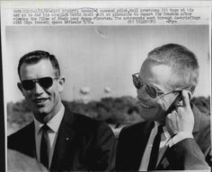 (from astronautfashions tumblr) Scott and Armstrong stylin' after their hair raising journey, 1966. Wire photo. Nobody does it better.