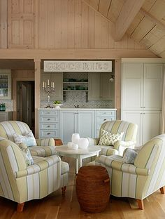 Sarah Richardson Design - Sarah's Cottage/Summer House (Dining Room and Lounge) Cottage Lounge, Cottage Living Rooms, My Living Room, Living Spaces, Lake Cottage, Cozy Cottage, Cottage Farmhouse, Cottage Interiors, Home Interior