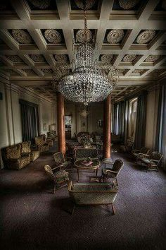 """Abandoned: Grand lobby of the Overlook Hotel. Movie set of the """"Overlook Hotel"""" in the Shining movie."""