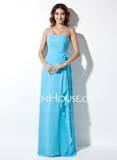 Bridesmaid Dresses - $111.99 - A-Line/Princess Strapless Floor-Length Chiffon Bridesmaid Dress With Ruffle (007001867) http://jenjenhouse.com/A-Line-Princess-Strapless-Floor-Length-Chiffon-Bridesmaid-Dress-With-Ruffle-007001867-g1867