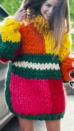Similar picture - Knitting Crochet Chunky Knitting Patterns, Knitting Blogs, Easy Knitting, Knitting Yarn, Knit Patterns, Knit Fashion, Look Fashion, Estilo Hippie Chic, Extreme Knitting