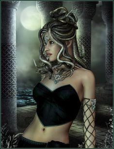 Wanna be medusa for Halloween but don't know where to Start Medusa Kunst, Medusa Art, Medusa Tattoo, Fantasy Women, Dark Fantasy, Fantasy Art, Fantasy Images, Greek And Roman Mythology, Greek Gods