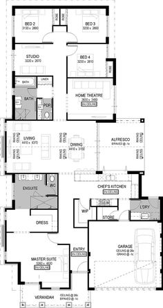 Floor Plan Friday: Raked ceiling-I like garage entry, laundry, pantry, kitchen New House Plans, Dream House Plans, House Floor Plans, The Plan, How To Plan, Home Design Floor Plans, Plan Design, Casa Top, House Blueprints