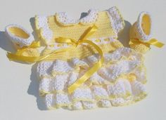 Crocheted Yellow Dress with White Ruffles