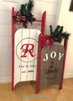 DIY vintage sleigh Christmas signs, by Follow Your Heart Woodworking, featured on Funky Junk Interiors