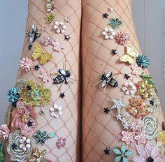 NYC-based artist Lirika Matoshi hand-creates the most AMAZING embellished fishnet tights. Photo - Lirika Matoshi makes sparkly tights for fairy queens Fishnet Socks, Fishnet Stockings, Medias Red, Sparkly Tights, Funky Tights, Green Tights, Estilo Rock, Girly, Fairy Princesses