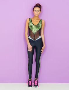 Fluoro Stripe Catsuit. Festival Fashion. Catsuit. Neon. Black. Panelling…