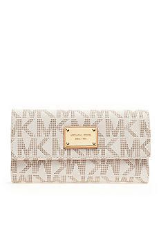 Michael Kors Vanilla Logo Wallet. $158. - need this is black to match my purse! :)