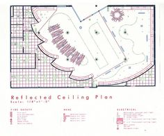 Reflected Ceiling Plan Restaurant Lighting, Restaurant Design, Ceiling Plan, Construction Drawings, Coffee Shop Design, Co Working, Fire Safety, Drawing Reference, Lighting Design