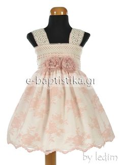 Βαπτιστικό φόρεμα ledim από βαμβακερή δαντέλα σε εκρού χρώμα στο κορσάζ και  σάπιο μήλο στη φούστα 5af2ef65304